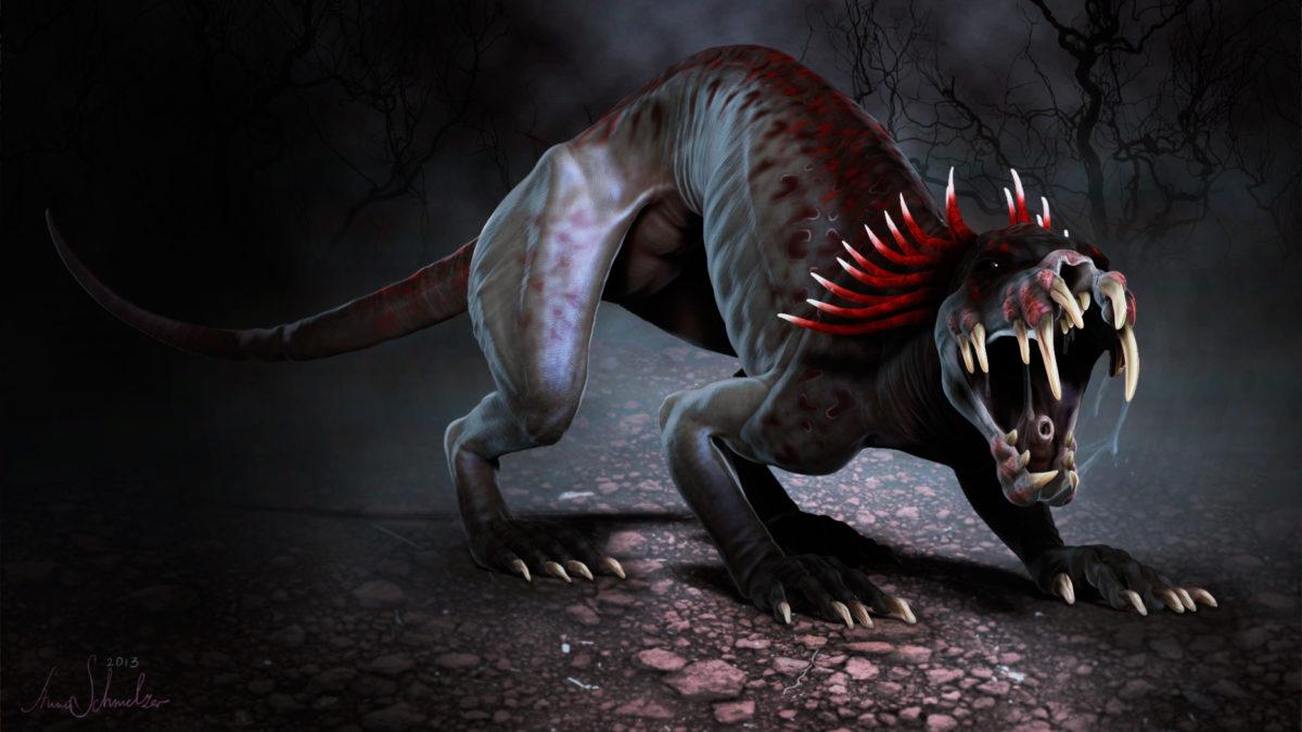 chupacabra creature in a threatening pose