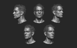 head portrait 3d cg model digital sculpting character model