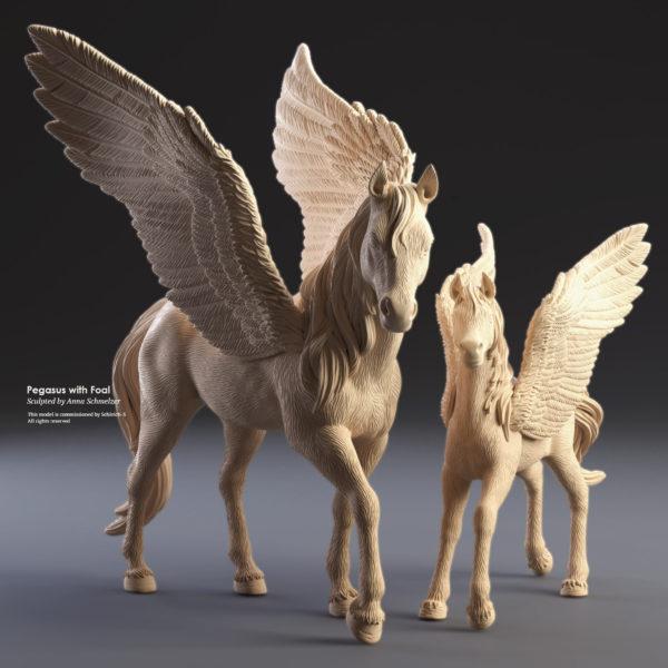 3D visulisizerung eines Pferdes mit Pegasusfohlen für Schleich von Anna Schmelzer
