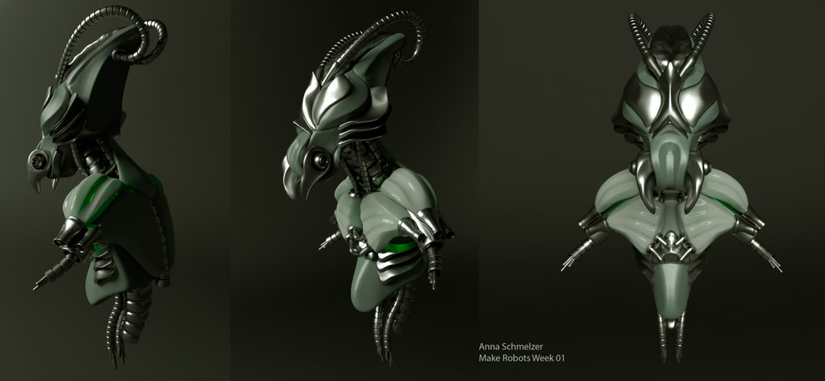 Mantis Robo Bust zbrush sculpt