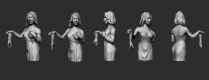 Helen Mirren ZBrush Model 360 degrees colage