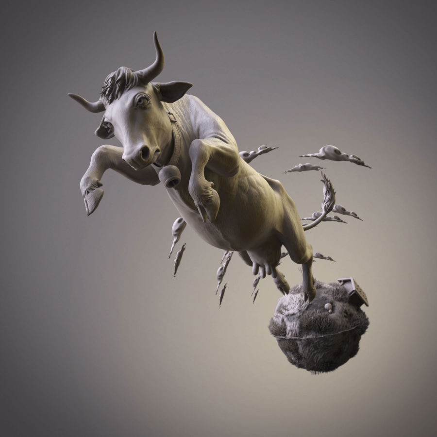 Keyshot World Render Jumping Cow ZBrush Model by Anna Schmelzer