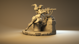 specialty girl turntable video zbrush model 3d pinup