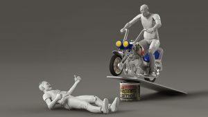 motorbike jump scene with a toy plastiv bike