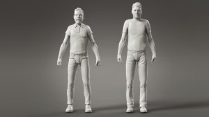 jon and leigh 3d character models in neutral posed as basic settup for zbrush posing