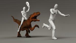model of a prehistoric toy dino with jon chasing leigh scene