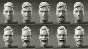 blendshapes of Jon and Leigh of Toyfight used for different facial expressions on the character models