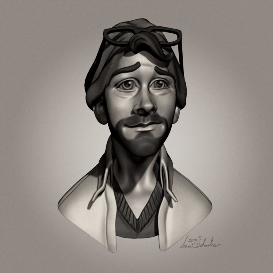 Hippster concept art animation character design in ZBrush using BPR