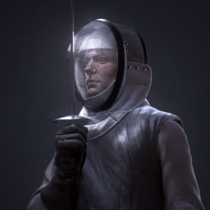 CG model sculpted in zbrush fencer cloth and epee