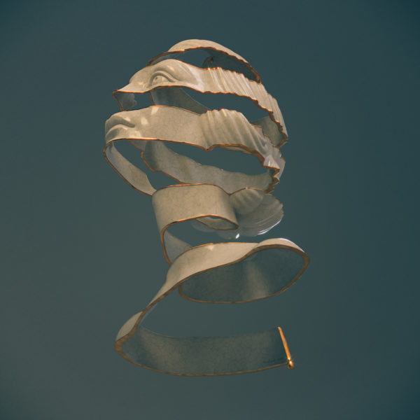Artsy spiral portrait using zbrush mesh booleans by Anna Schmelzer