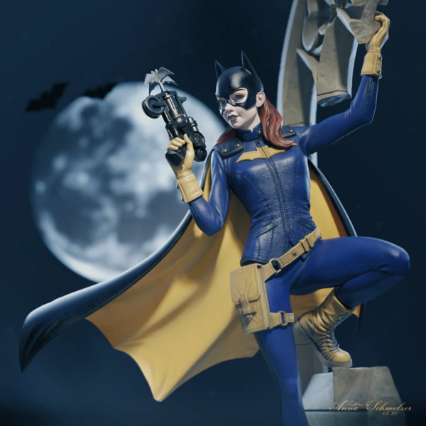 Batgirl closeup hero shot. Gothic wall, Moon background sculpted by Anna Schmelzer in ZBrush | dc fanart | collectibles | 1/16th scale
