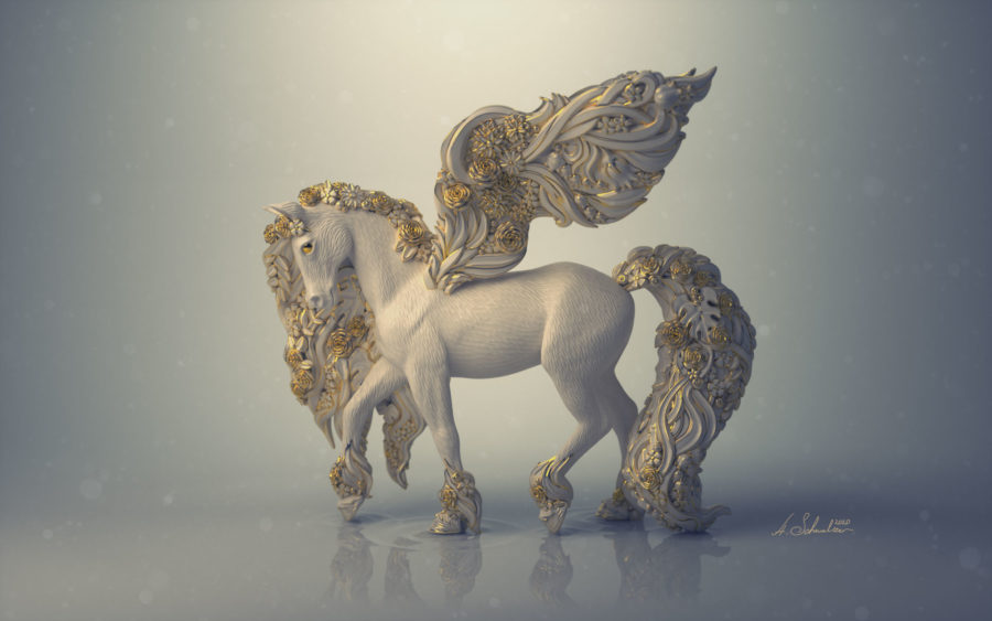 Blossom Pegasus sculpted by Anna Schmelzer in ZBrush 2020 - Frankfurt based Artist